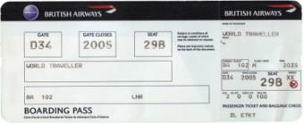 Boarding card / boarding pass