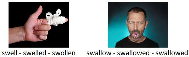 swallowed or swollen