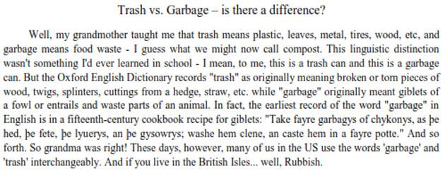 Trash vs. Garbage