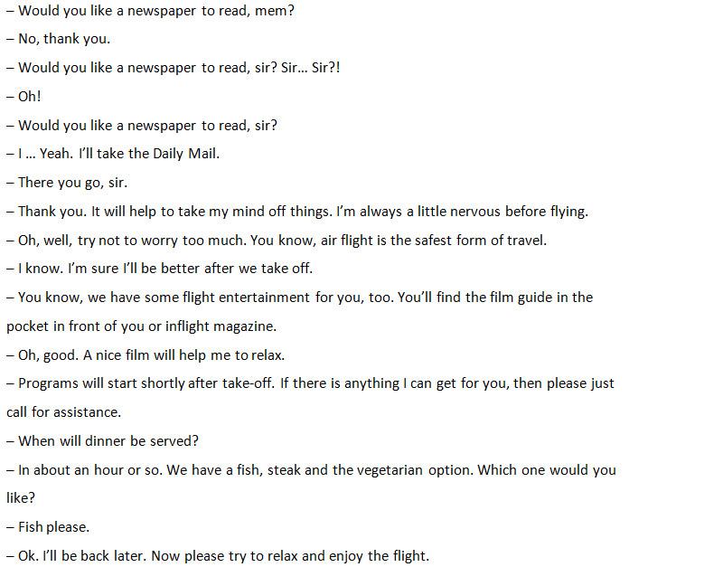 Диалог со стюардессой на борту